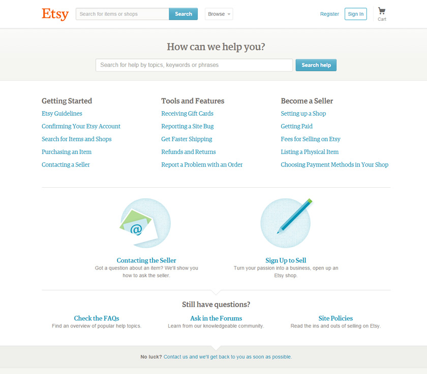 Etsy's help page