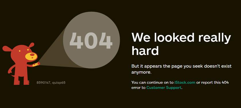 iStockphoto's 404 page